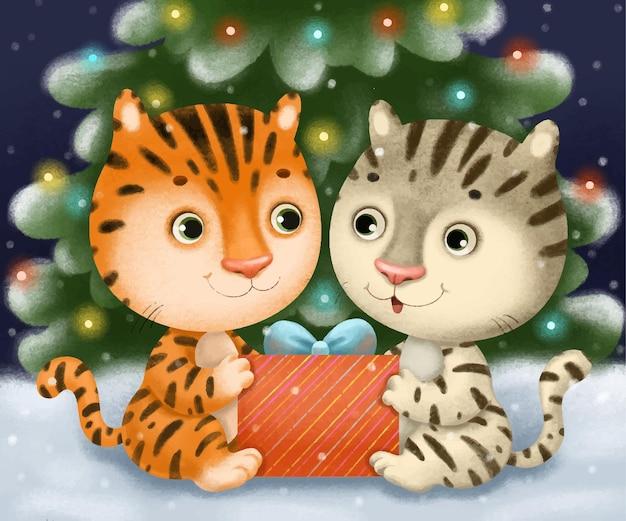 Nette illustration der niedlichen neujahrsweihnachten der niedlichen tigerjungen, die unter dem grünen festlichen baum sitzen.