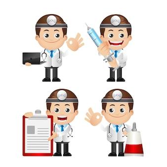 Nette illustration des doktors mit verschiedenen gegenständen