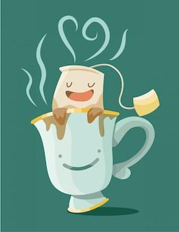 Nette illustration eines teebeutels innerhalb einer teetasse