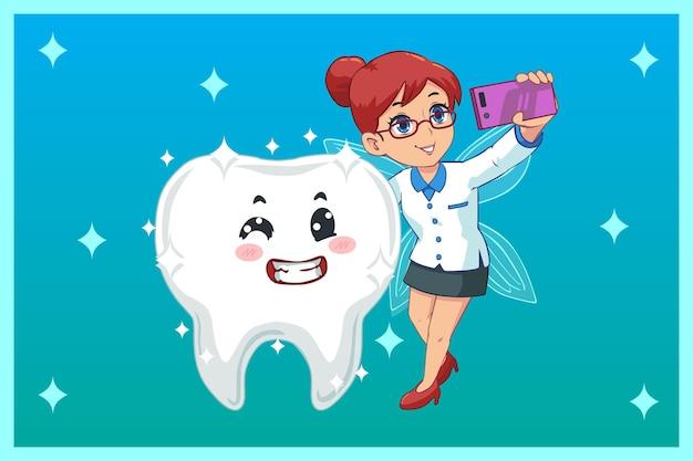 Nette illustration, zahnfee selfie mit leuchtenden zähnen
