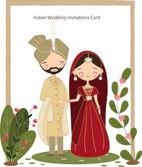 Nette indische paare für hochzeitseinladungskarte