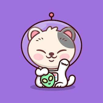 Nette japanische glückliche katze trägt astronautenanzug und hält ein grünes alienkopf-cartoon-maskottchen und charakter