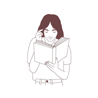 Nette junge frau, die ein buch liest oder sich auf die prüfung vorbereitet. handgezeichnetes porträt von intelligenten mädchen, studenten oder schülern mit lehrbuchhand gezeichnet auf weißem hintergrund. realistische monochrome vektorillustration.
