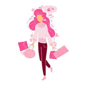 Nette junge frau mit einkaufstüten und geschenken isoliert auf weißem valentinstag-shopping-konzept
