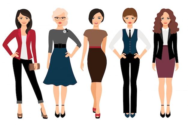 Nette junge frauen in der unterschiedlichen art kleidet vektorillustration. geschäftsfrau- und büromädchencharakter lokalisiert