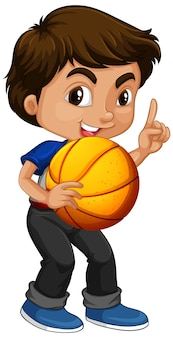 Nette junge jungenkarikaturfigur, die basketball hält