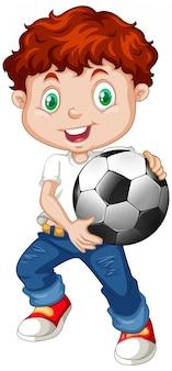 Nette junge jungenkarikaturfigur, die fußball hält