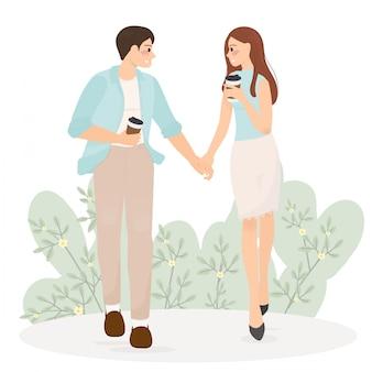 Nette junge paare halten handweg zusammen am ersten datum für hochzeit oder valentinstag
