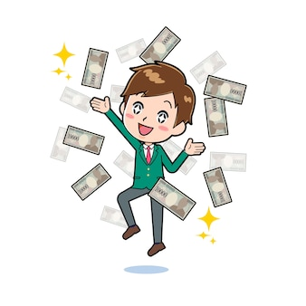 Nette junge zeichentrickfigur mit einer geste des flatterns über bündel von banknoten.