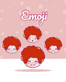 Nette jungen emojis karikaturvektorillustrations-grafikdesign