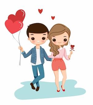 Nette jungen- und mädchenkarikatur mit herzballon für valentinstag