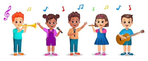 Nette jungen- und mädchenkinder, die verschiedene instrumente zusammen spielen