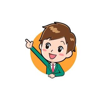 Nette jungenkarikaturfigur mit einer geste der ikone zeigen nach oben.
