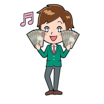 Nette jungenkarikaturfigur mit einer geste des bündels von banknoten.