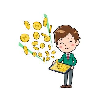 Nette jungenkarikaturfigur mit einer geste des geldverdienens mit tablette.