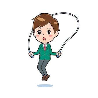 Nette jungenkarikaturfigur mit einer geste des springseils.