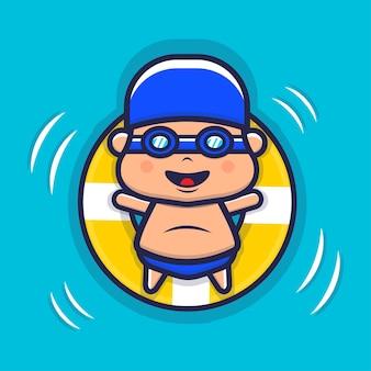 Nette jungenkinder, die mit schwimmringillustration schwimmen
