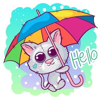 Nette kätzchenkarikatur mit einem regenschirm