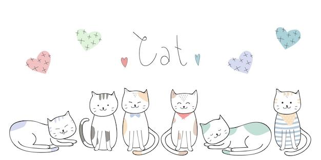 Nette kätzchenkatzenkarikatur-gekritzeltapete