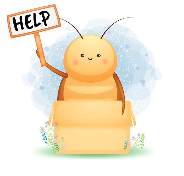 Nette kakerlake, die eine zeichenbrettkarikaturfigur hält