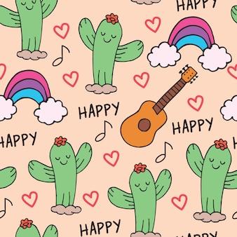 Nette kaktushand gezeichnetes nahtloses muster