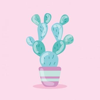 Nette kaktusillustration lokalisiert auf rosa