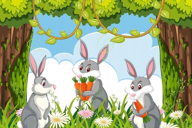 Nette kaninchen in der dschungelszene