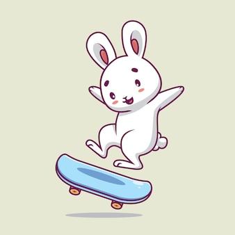 Nette kaninchen-skateboard-karikaturillustration