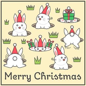 Nette kaninchen spielen verstecken für geschenke der frohen weihnachten in der flachen karikatur für design eleme