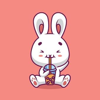 Nette kaninchen trinken boba milchtee-karikaturillustration