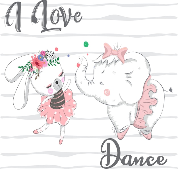 Nette kaninchen- und elefantkarikaturhand gezeichnet