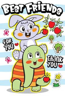 Nette kaninchen- und schildkrötenkarikaturillustration