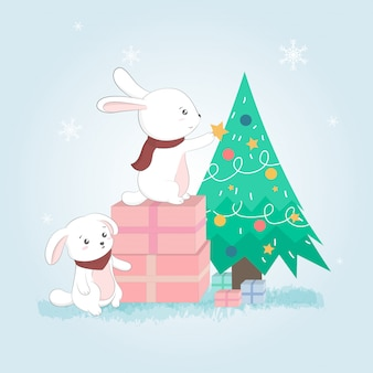 Nette kaninchen und weihnachtsbaum, postkarte der frohen weihnachten