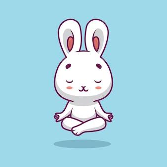 Nette kaninchen-yoga-karikaturillustration