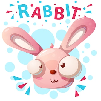 Nette kaninchencharakter-karikaturillustration