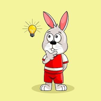 Nette kaninchenkarikatur, die illustration denkt