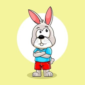 Nette kaninchenkarikaturillustration