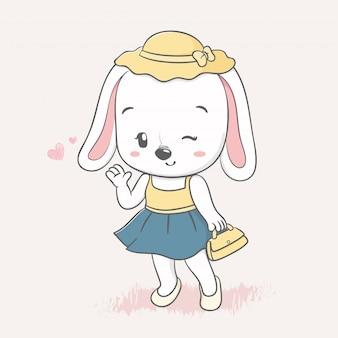 Nette kaninchenmädchen-karikaturhand gezeichnet
