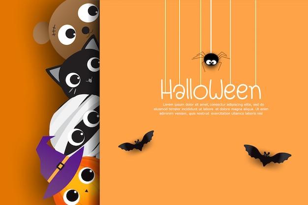 Nette karikatur der glücklichen halloween-grußkarte