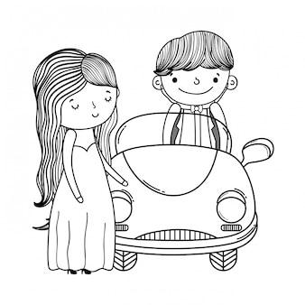 Nette karikatur der hochzeitspaare und -autos in schwarzweiss