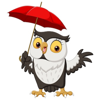 Nette karikatur eule mit regenschirm