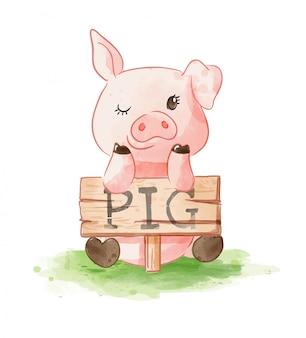 Nette karikatur schwein hoding schwein holz zeichen illustration