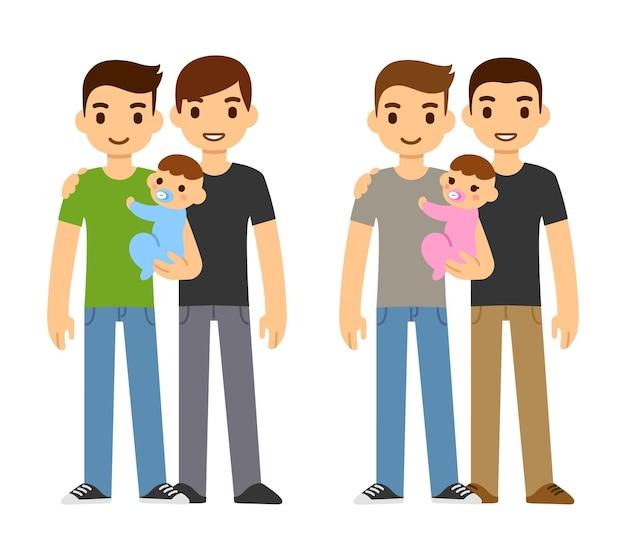 Nette karikatur-schwulenpaare, die baby und mädchen halten. familienadoptionsillustration.