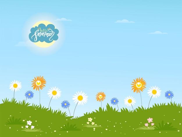 Nette karikatur sommerlandschaft mit hallo sommerbeschriftung und gänseblümchenblume, sommerhintergrund mit wilden blumen am sonnigen tag