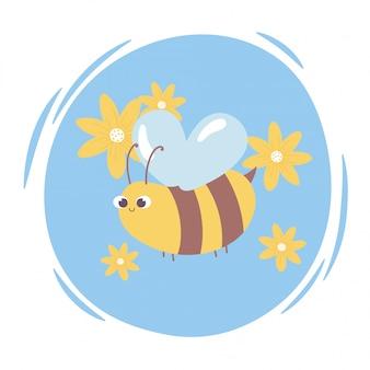 Nette karikatur tier fliegende biene mit blumen wild