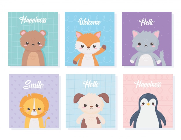Nette karikatur-tierporträtkarten mit bärenkatzenlöwenhundepinguinvektorillustration Premium Vektoren