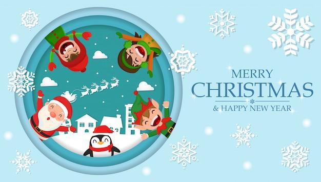 Nette karikatur weihnachten im dorfhintergrundpapierschnitt
