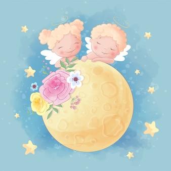 Nette karikatur zwei engel junge und mädchen auf dem mond mit schönen blumen
