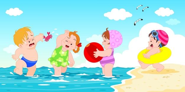 Nette karikaturcharakterkinder der vektorillustration, die am strand und am meer der sommerferienaktivitäten spielen