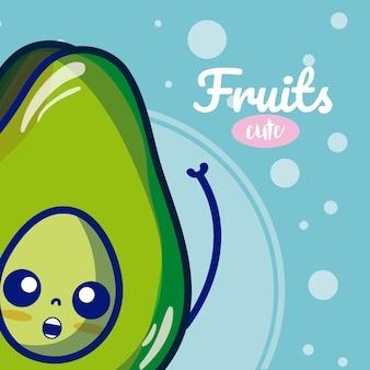 Nette karikaturen der avocadofrucht